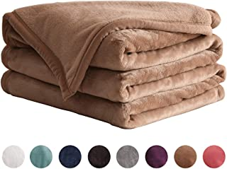 LIANLAM Throw Size Fleece Blanket Lightweight Super Soft and All Season Warm Fuzzy Plush Cozy Luxury Bed Blankets Microfiber (Camel, 43