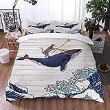 Juego de Fundas de edredón,Gato Montando Ballena en Ocean Wave en Arte japonés de Madera Oriental Kanagawa japonés,Fundas Edredón 220 x 240 cmcon 1 Funda de Almohada 40x75cm