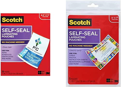 Scotch Self-Seal Laminating Pouches, 25 Pack, Letter Size (LS854-25G-WM) & Glossy Document or Photo Laminating Pouch,...
