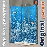 ORIGINAL plateART Eck-Duschrückwand, Wandverkleidung, Wandbild, Rückwand Alu-Dibond OHNE FUGEN, Fliesenersatz, Wasser-Motiv, KOSTENLOSER ZUSCHNITT
