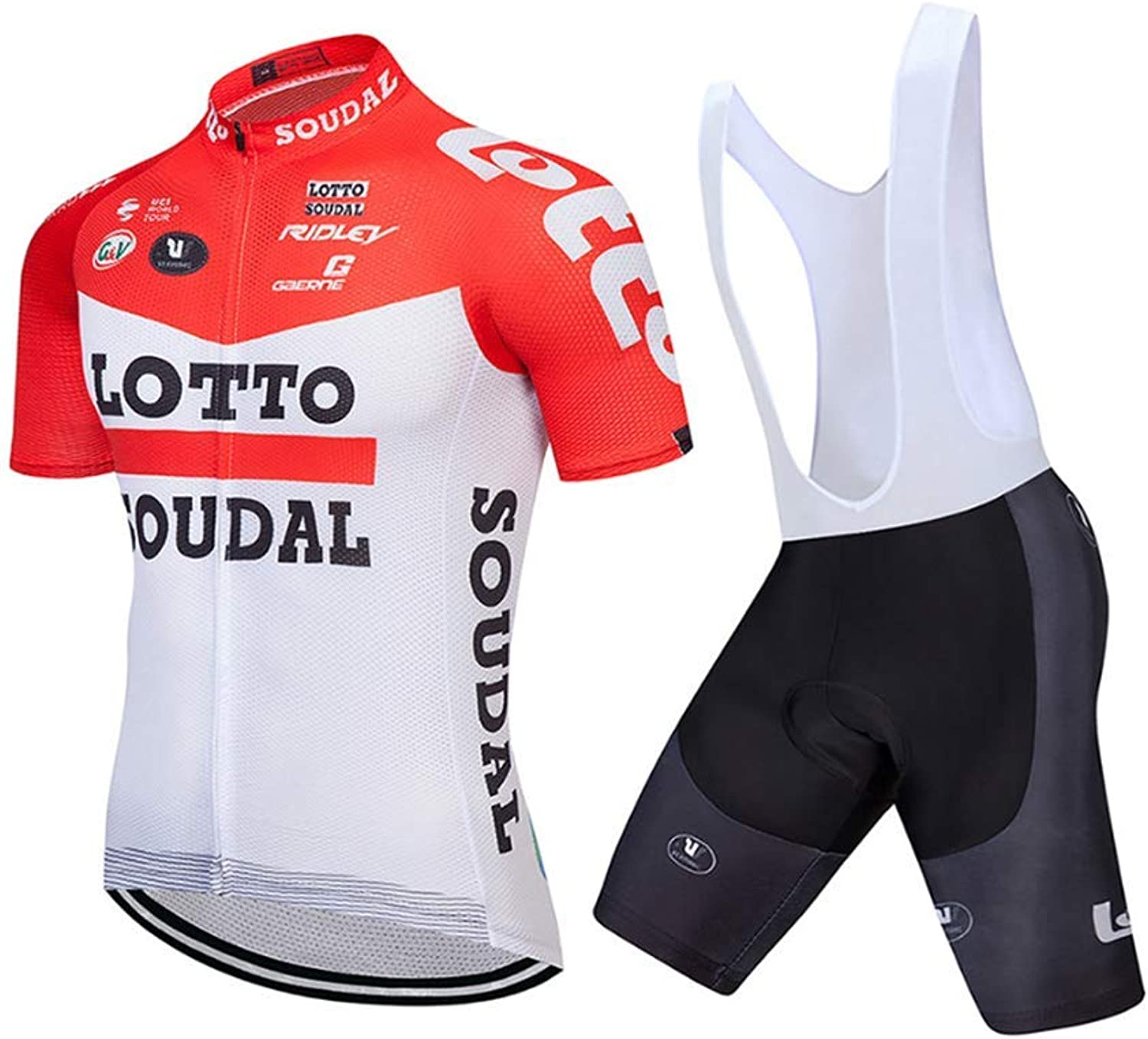 MTK Mens Edition Cycling Jersey Breathable Short Sleeve Bike Jersey with 3D Gel Pad Bib Shorts for Pro Bicycle Team