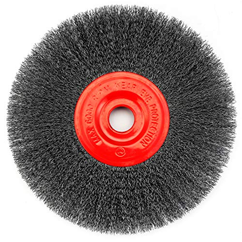 TILAX Wire Wheel Brush, Wire Wheel for Grinder with 8-Inch in Diameter and 7/8 Inch Arbor, Bench Grinder Brush with 0.012-Inch Carbon Steel Wire, Wire Bench Wheel Brush for Grinder