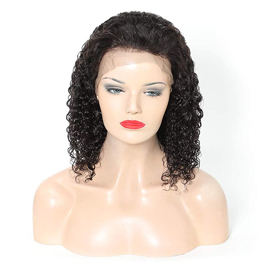 等価ほのか警告する女性フロントレース150%密度ブラジルレミー人間の髪の毛のかつら非常に巻き毛のウェーブのかかった髪のかつら