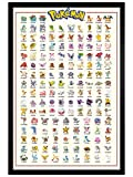 Pokémon Maxi Poster 61 x 91,5 cm Cadre en Bois Noir Kanto 151 de