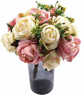 HiiARug Artificial Silk Roses Flower Bouquets 2-Pack 7 Heads Bridal Wedding Bouquet Wedding Party Decoration (Pink&White)