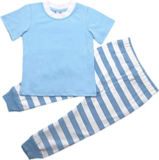 MONOBLANKS Easter Stripe Dot Pajamas Sets for Baby Boys Girls,100% Cotton Short Sleeve Sleepwear Two-Piece Sets