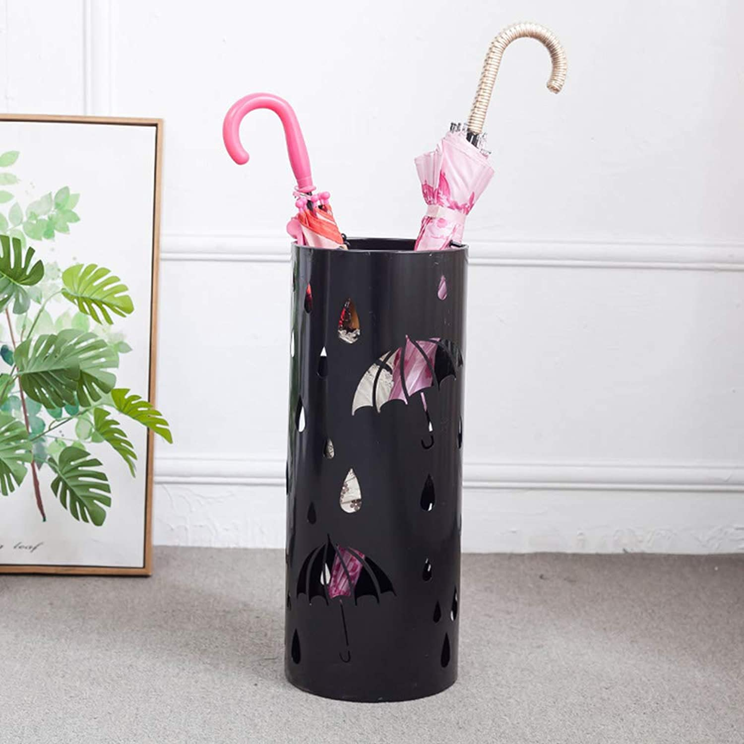 DUXX Umbrella Stand, Simple and Stylish Wrought Iron Umbrella Stand Metal Carved Umbrella Bucket Household Umbrella Storage Umbrella Stand Umbrella Bucket (color   C)