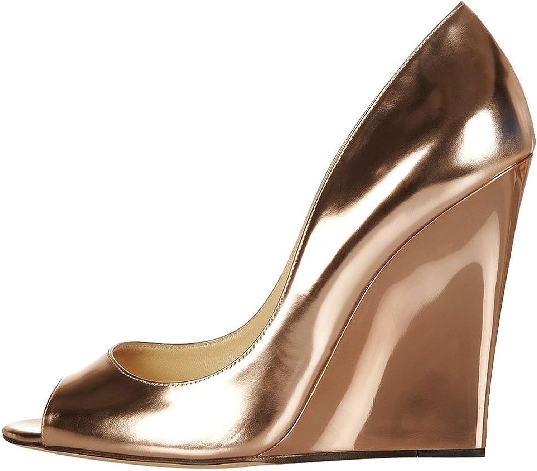 COOLCEPT Women's High Heels Pumps Peep Toe Slip On Wedge shoes