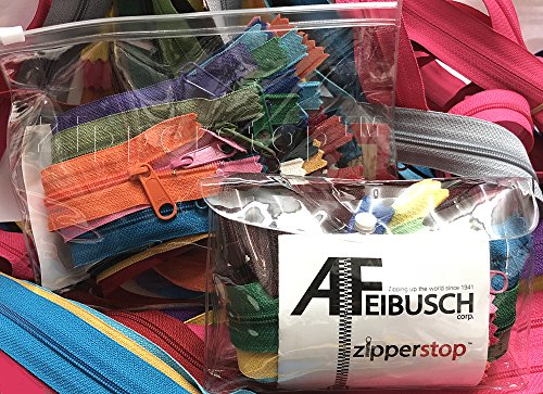 """9"""" YKK #4.5 Handbag Long Pull Zippers for Sewing & Craft Projects - Made in USA - 10 Assorted Colors"""