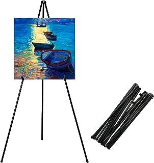 Caballete plegable, trípode portátil negro, caballete de exhibición ajustable de metal ligero, base 63