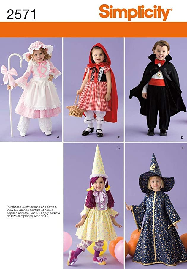 Simplicity 2571 Little Bo Peep, Little Red Riding Hood, Dracula, Clown and Wizard Sewing Pattern for Toddlers Halloween Costume by Wrights, Sizes A 1/2-4