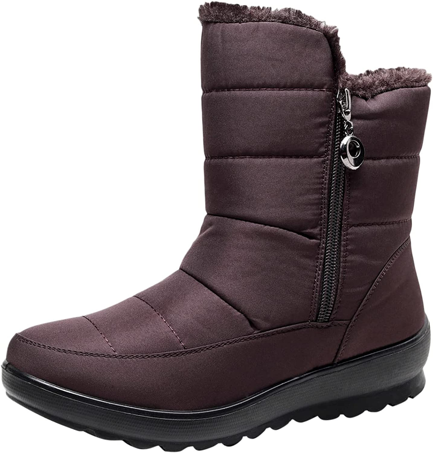 Warm Snow Boots for Womens Faux Fur Warm Thermal Waterproof Outdoor Walking Shoes Cold Weather Snow Winter Rubber Sole Mid Calf Boots GNiwerb