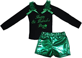 Petitebella Girls' Happy St. Patrick's Day Black L/S Shirt Bling Short Set