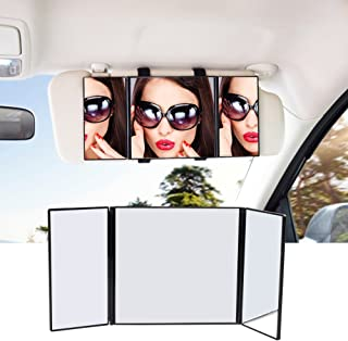 Car Visor Mirror, STYDDI Car Universal Makeup Travel Folding Vanity Mirror, 12 Inch Cosmetic Clip-on Sun-shading Mirror for Car Truck SUV Van Sun Visors