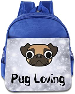 DiadsJun Pug Loving Boys Girls Cartoon School Backpacks RoyalBlue
