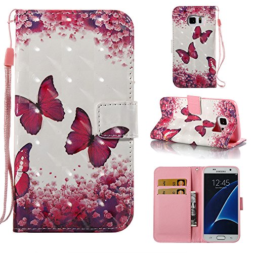 UK-Cherry [ Case for Galaxy S7 ] Samsung Galaxy S7 Phone Case,3D Painting PU Leather Flip Wallet Case Cover for Galaxy S7 (Rose Butterfly)
