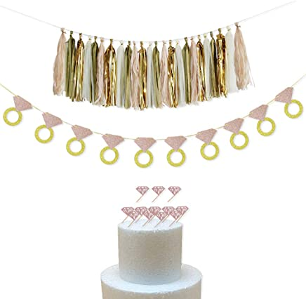 Bachelorette Tassel Garland Banner Wedding Ring Banner with 12pcs Diamond Cupcake Toppers for for Bachelorette,Bridal Shower Engagement Party Decor - Wedding Bar Banner Wedding Party Supplies