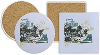 Canvas Shoes Coconut Tree Illustration Coaster Cup Mug Holder Absorbent Stone Cork Base Sets