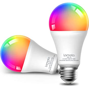 Lomota Smart Light Bulb Dimmable, 2700K-6500K RGBCW, 810 Lumens 60W Equivalent, Compatible with Alexa and Google Assistant, A19 E26 WiFi LED Light Bulb, No Hub Needed - 2 Pack