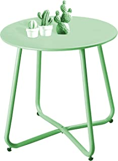 Patio Side Table Outdoor Small Round Metal Side Table Portable Coffee Table Anti-Rust Steel Coffee Table for Garden,Modern...