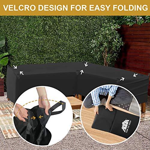 king do way Abdeckung für Gartenmöbel L-Form, 600D Oxford Tuch Premium Wasserdicht Sofa Abdeckung Rattan Möbel Schutz vor Staub und verlängert die Lebensdauer von Möbeln 270 x 270 x 90CM - 6