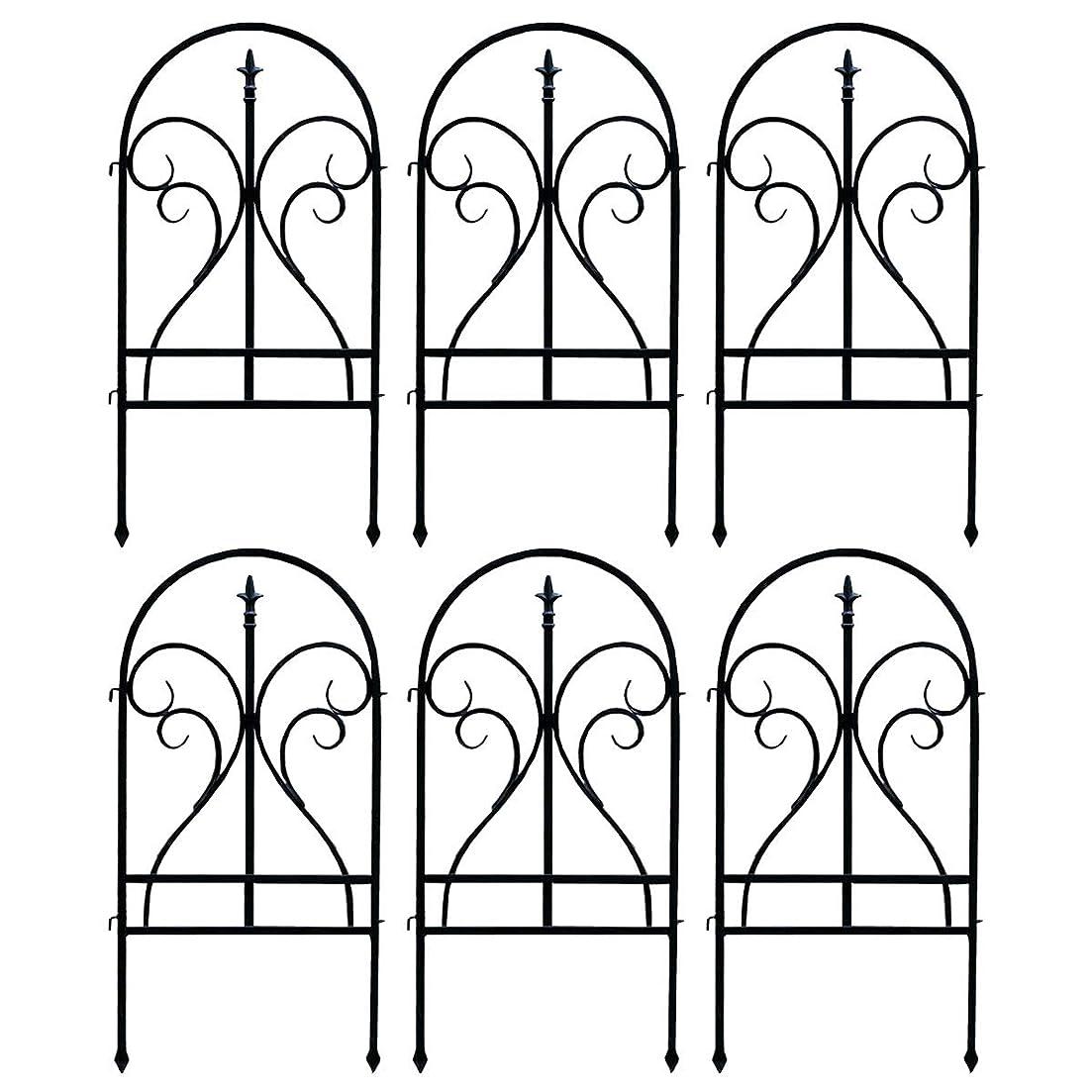 夜明けに巡礼者執着フェンス ガーデン セット 目隠し シェード 花壇 アイアン ラティス 高さ 90cm ブラック 6枚組