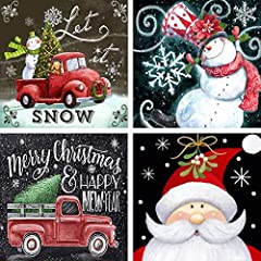 Product contains - The Christmas diamond painting comes with 4 canvases (the pattern includes 1 snowman and 1 Santa Claus and 2 red trucks), diamonds, tools. The diamond painting set for adults is made of semi-finished products of simulated shiny cry...