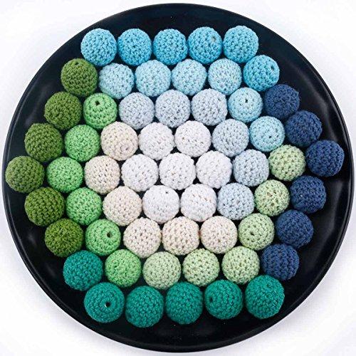 let's make Gehäkelte Perlen Häkeln Bio Spielzeug Lebensmittelqualität DIY Mischkugel Holzperlen Stricken Grüne Serie 20mm/50pcs