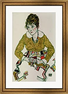Portrait of The Artist's Wife, 1917 by Egon Schiele Framed Art Print Wall Picture, Wide Gold Frame, 23 x 32 inches