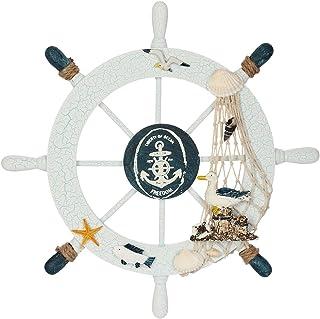 Rienar Nautical Beach Wooden Boat Ship Steering Wheel Fishing Net Shell Home Wall Decor (Seabird)
