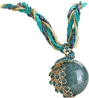 Napoo 1PC Womens Bohemian Rhinestone Peacock Gem Pendant Statement Necklace with Bandage