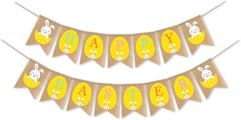 Quality inspection Purchase Joocyee Happy Easter Burlap Banner Eggs Rabbit Flag Pull Bunting