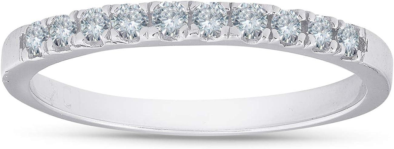 1/4 Ct Diamond Wedding Ring 10K White Gold Womens Stackable Anniversary Band