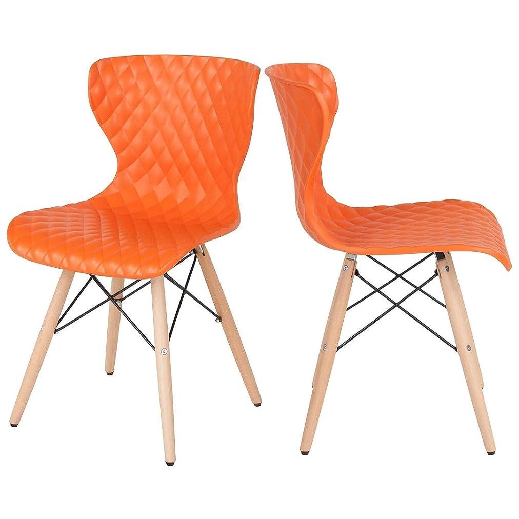 例示するサスティーンナインへコンテンポラリーアクセントサイドチェア 商用グレード素材 人間工学的カーブバックシート ポリプロピレン成形構造 ダイヤモンドキルトパターン オフィス ホーム家具 - 4個セット オレンジ #2142