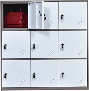 MECOLOR-Office and School Locker Organizer Metal Storage Locker Cabinet for Workers Students and Home (White)