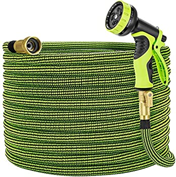 100-Feet Expandable Garden Water Hose with Brass Fitting & Spray Nozzle