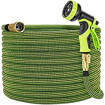 Eleegan Garden Hose 100 ft Water Hose with 10 Function Nozzle Leakproof Flexible Expandable Hose with Solid Brass Fittings Extra Strength 3750D Durable Expanding Yard Hose Car Wash Hose Pipe