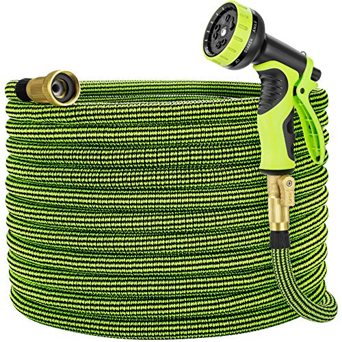 Eleegan Garden Hose 100 ft Water Hose with 10 Function Nozzle, Leakproof Flexible Expandable Hose with Solid Brass Fittings, Extra Strength 3750D Durable Expanding Yard Hose Car Wash Hose Pipe
