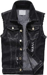 Jade Hare Men's Casual Button Up Slim Denim Vest Sleeveless Ripped Jean Waistcoat Jacket Motorcycle