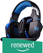 (Renewed) Kotion Each Over the Ear Headsets with Mic & LED - G2000 Edition (Black/Blue)