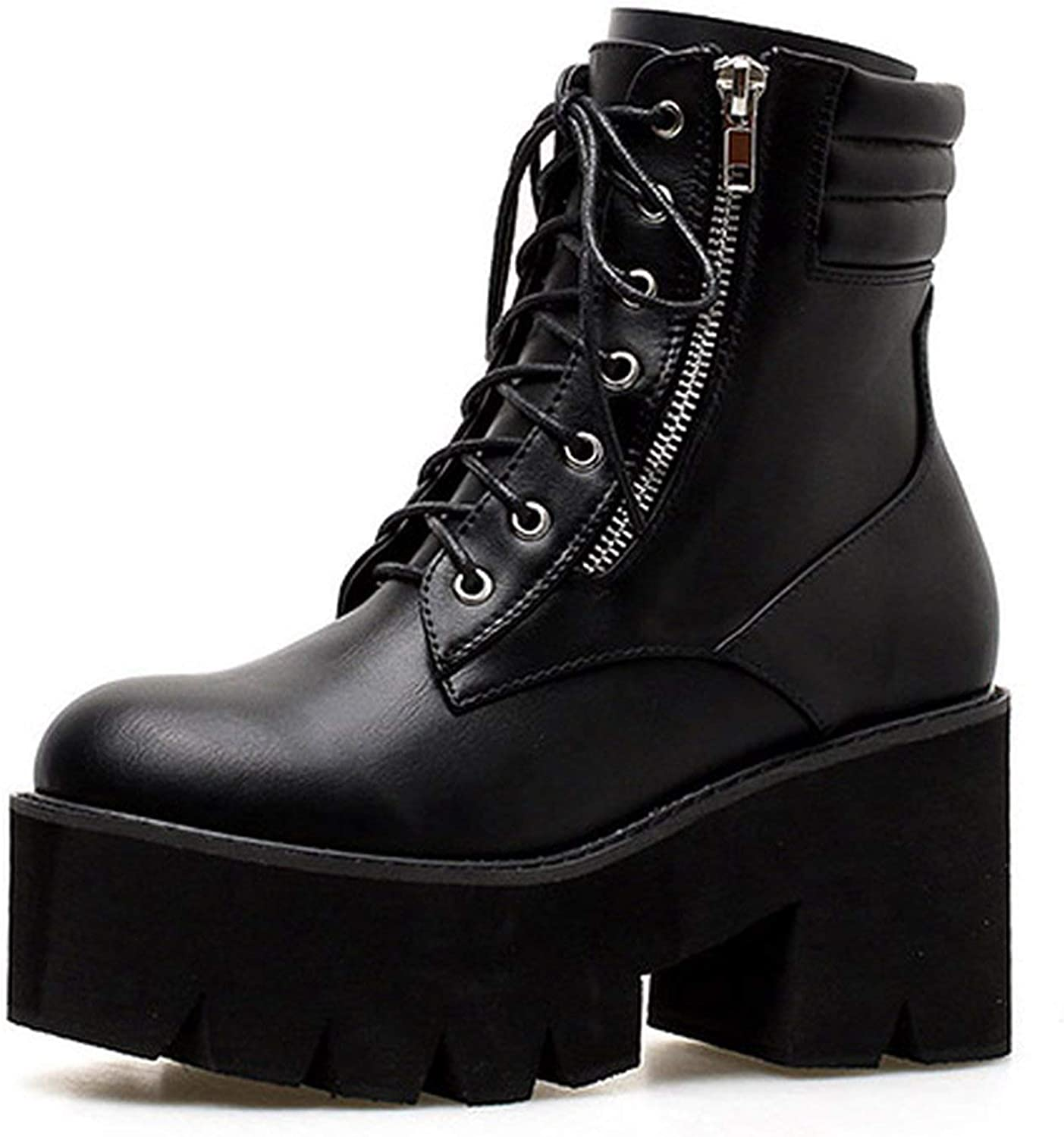 Summer-lavender Autumn Ankle Boots Motorcycle Boots Heels Lacing Round Toe Platform Boots shoes