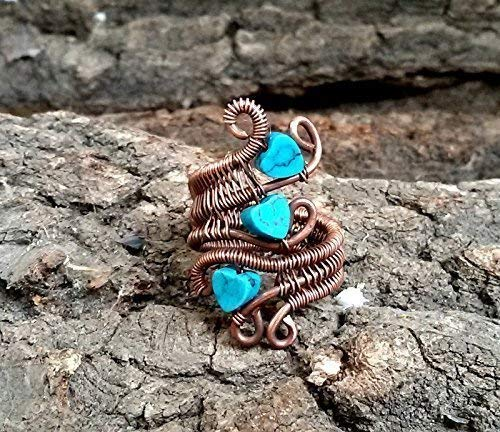 Turquoise heart copper ring, Wire wrapped jewelry handmade, gemstone ring, mothers day gifts