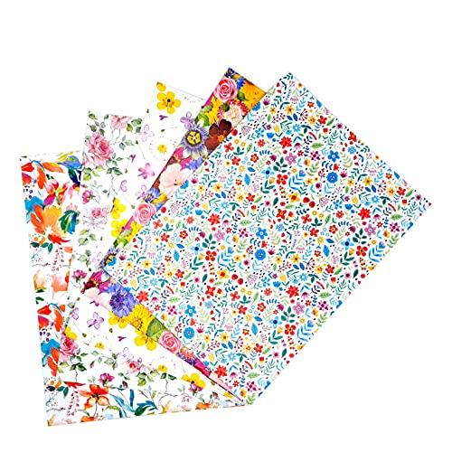 ARKRAFT Carta da Regalo per Confezionamento Regalo 5 Fogli 100x 70 cm 100% Carta Disegni Fiori Primavera (fiore 1)