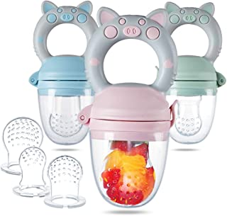 Eco inspired Baby Feeder - Piggy Handle Fresh Food Feeder & Teething Toys Fruit Pacifier for Teething Baby with Different ...