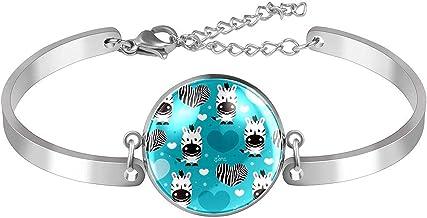Verstelbare armband unieke Zebras Heart Blue voor vrouwen Roestvrij staal