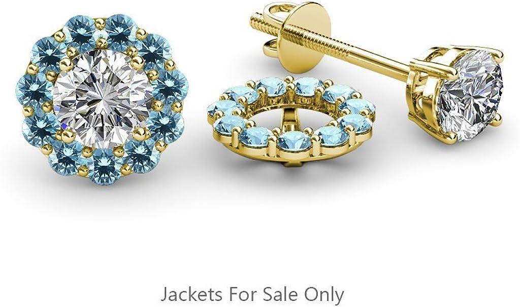 TriJewels Blue Topaz Halo Jacket for Stud Earrings 0.77 ct tw in 14K Yellow Gold