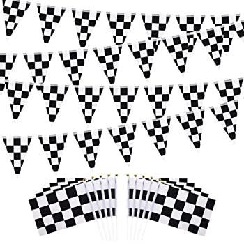 4 Four Pack Swooper Flags /& Pole Kits Black White Race Check Checkered Flag