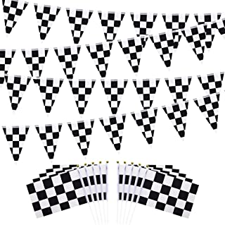 HEHALI 100ft Checkered Black and White Pennant Banner Racing Flags, and 10pcs Checkered Flags with Plastic Stick, 8x5.5 Inch
