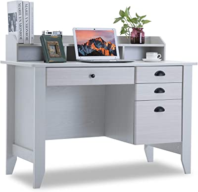Computer Desk With Drawers And Hutch Shelf Wood Executive Desk Teens Student Desk Writing Laptop Home Office Desk For Small Spaces White Kitchen Dining