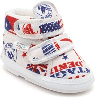 CHIU Unisex Kid's Chu Shoes with Velcro for 18-20 Months White Boat 2 UK (18 EU) (C02-Denim-Flag-6)
